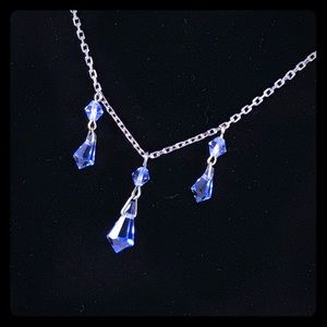 Sterling chain & blue crystal dangles necklace
